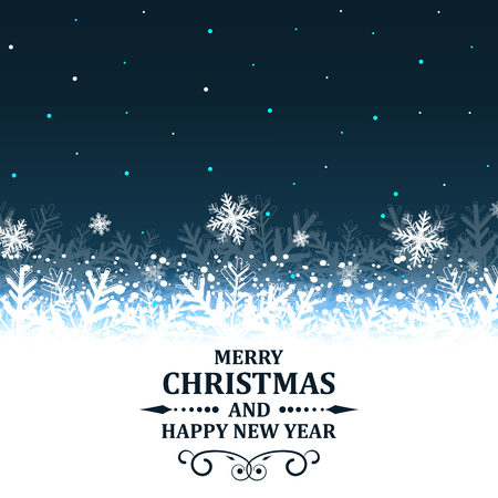 headline: Christmas and New Year abstract vector illustration with snowflakes and ornate headline.