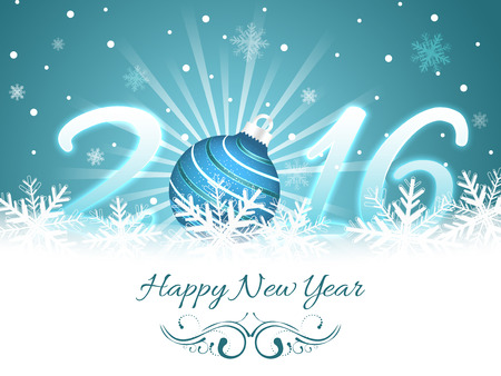 Happy New Year greeting card 2016. Vector illustration with snowflakes, glare and bauble for your wishes.