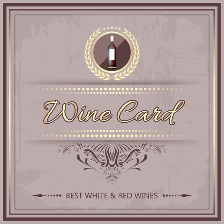 wine card: Wine card for your restaurant or bar menu in vintage style. Vector illustration. Illustration