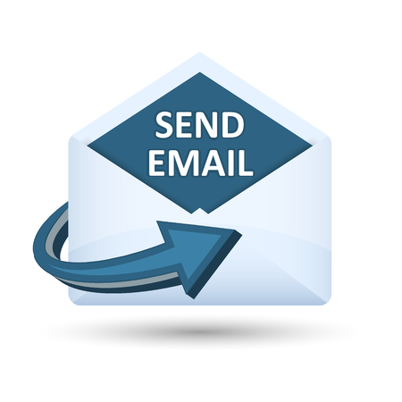 Send email icon vector concept. Open envelope with blue arrow.
