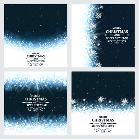winter season: Set of abstract vector Christmas background with ornate headline and snowflakes. Illustration