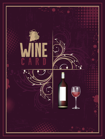wine card: Wine card. Vintage vector illustration with floral pattern, glass and bottle of wine.