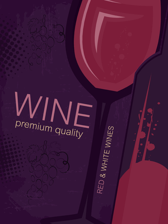 wine card: Wine card with glass and bottle in vintage style. Vector illustration for your restaurant or bar menu.