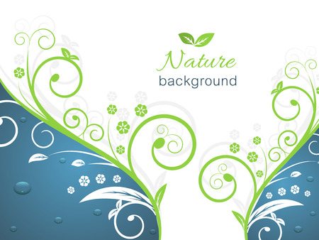 swirly: Nature illustration with spiral swirly pattern, water drops and space for your text. Vector background.