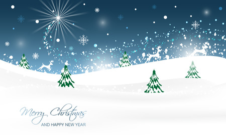 seasons greeting card: Christmas landscape with trees, glitter, snow and running reindeer. Vector illustration.