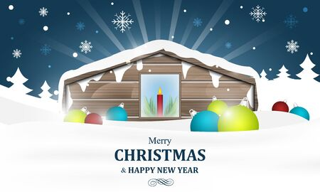 burning house: Winter house with burning candles in a calm country on Christmas. Vector illustration for your greeting card. Illustration