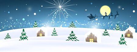 papa noel en trineo: Invierno rural del paisaje lunar cubierto de nieve con �rboles y casas. Santa en un trineo con renos. Ilustraci�n del vector.