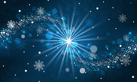 magic: Abstract winter background. Snowfall, sparkle, snowflakes on a blue dark background. Vector illustration.