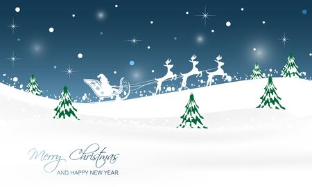 christmas snow scene: Christmas landscape with trees, glitter, snow and Santa in a sleigh with reindeer. Vector illustration. Illustration