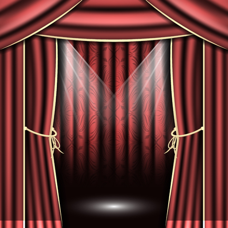 red theater curtain: Red theater curtain with spotlights.