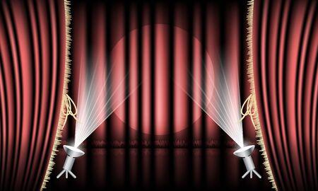 teatro: Etapa del teatro con la cortina roja, dobladillo oro y focos. Vectores