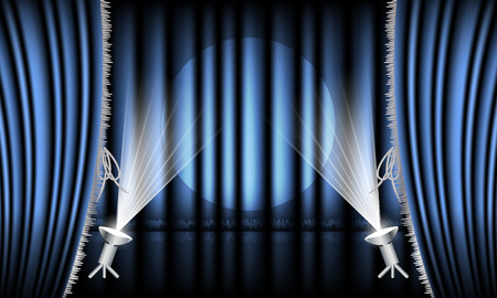 hem: Theater stage with red curtain, silver hem and spotlights. Vector illustration.