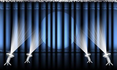 hem: Theater curtain with silver hem and spotlights.  Illustration