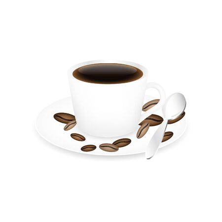 coffee beans isolated: Coffee cup, spoon and coffee beans isolated on a white background.