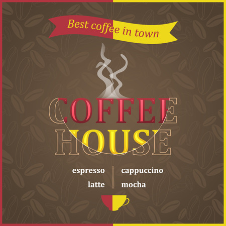 piccolo: Coffee house poster design with steam and coffee beans pattern.  Illustration