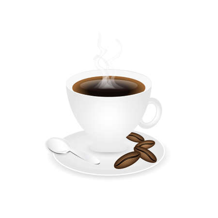 piccolo: Coffee piccolo with coffee beans and spoon.
