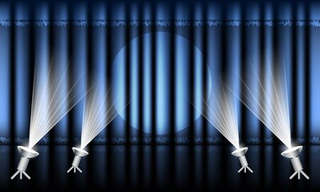 blue curtain: Theater stage with blue curtain and spotlights.  Illustration
