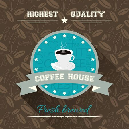 fume: Coffee house. Vector illustration in flat design with label and background with coffee pattern. Illustration