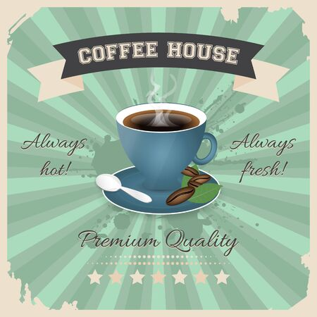 coffee house: Coffee house poster design with cup of coffee in retro style. Vector illustration.