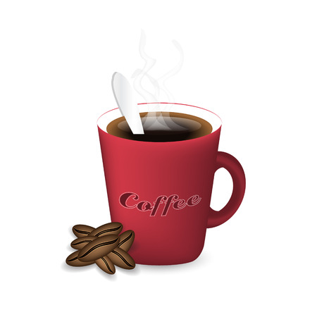 aroma: Coffee cup with steam, coffee beans and spoon. Isolated vector illustration.