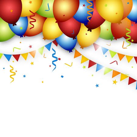 anniversaire: Balloon célébration fond avec drapeaux, confettis et de rubans. Illustration