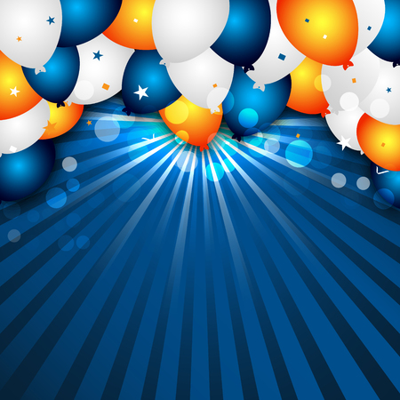 Celebration background with colorful balloons and confetti. Design for your greeting card. Stock Illustratie