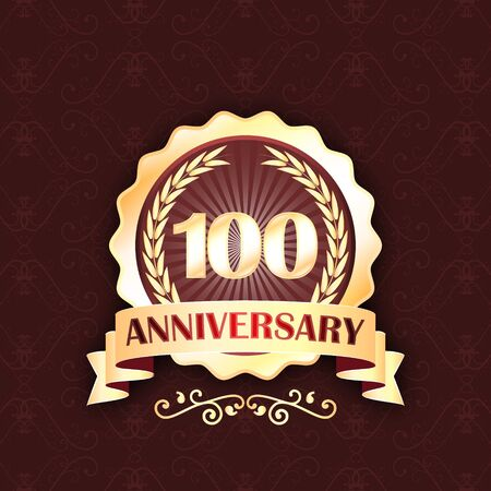 onehundred: 100th gold anniversary label with ribbon and laurel wreath. celebration design.