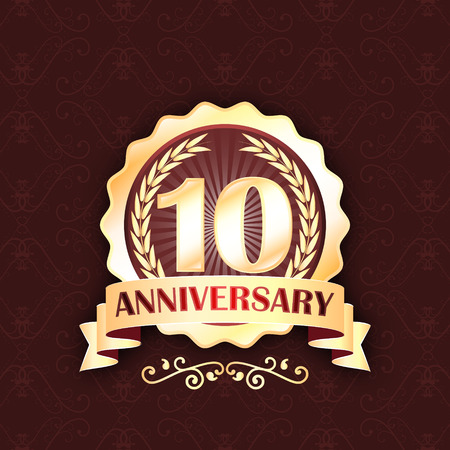 golden laurel wreath 10 years: 10th gold anniversary label with ribbon and laurel wreath. celebration design.