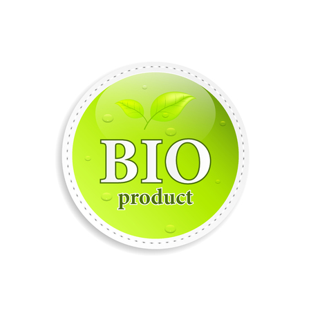 quality of life: Bio product icon or label with green leaves.