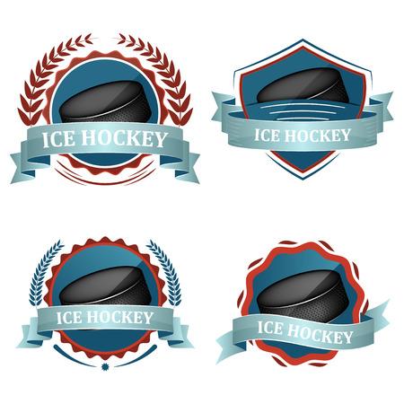 deportes colectivos: Conjunto de hockey sobre hielo de los iconos del deporte de vectores con cintas, corona de laurel y disco de hockey.