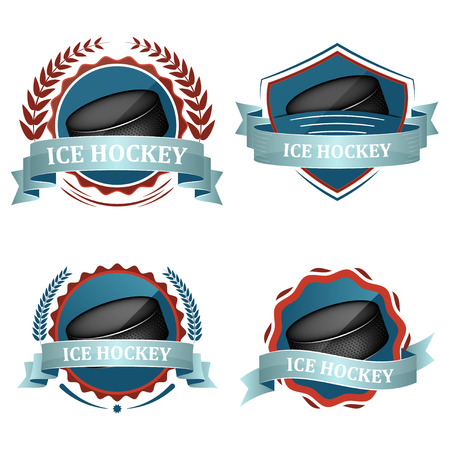 sports icon: Set of ice hockey sport vector icons with ribbons, laurel wreath and hockey puck. Illustration