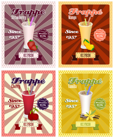 strew: Set of frappe poster illustrations, drinking strew and glass in vintage style. Illustration