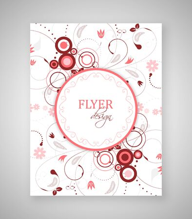 text box: Business flyer template or corporate banner with floral pattern and round text box.