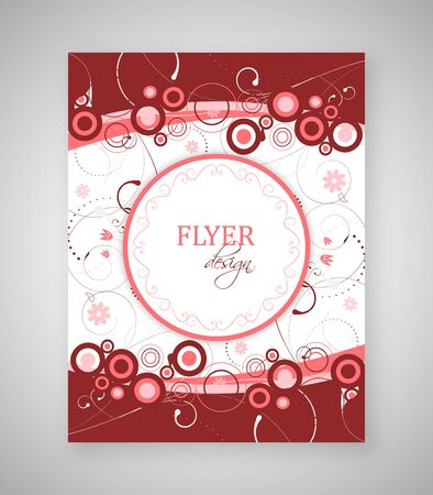 text box: Business flyer or cover design with abstract floral pattern and round text box. Illustration