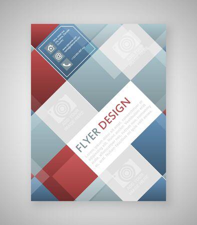 Diseño de plantilla de volante geométrica con elementos cuadrados azules y rojas. Diseño de la cubierta, folleto o banner corporativo. Diseñe con el lugar para su contenido o edición creativa. Vectores