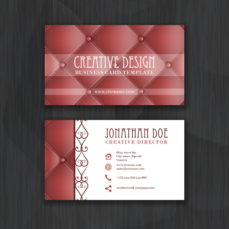 business sign: Creative business card template with leather texture. Design with front and back side for your proposal. Vector illustration.
