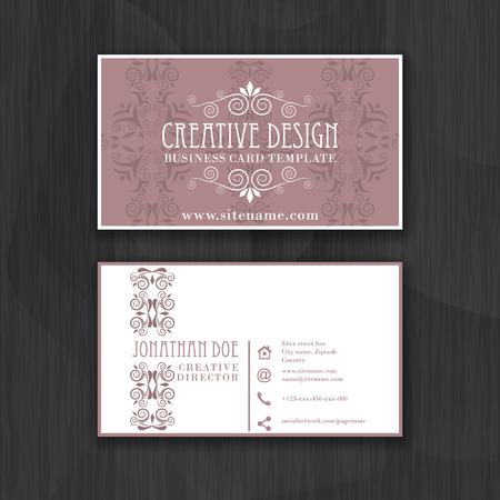 Jahrgang elegante horizontale Visitenkarte Vorlage für den persönlichen oder professionellen Einsatz mit Vorder- und Rückseite. Vektor-Illustration.