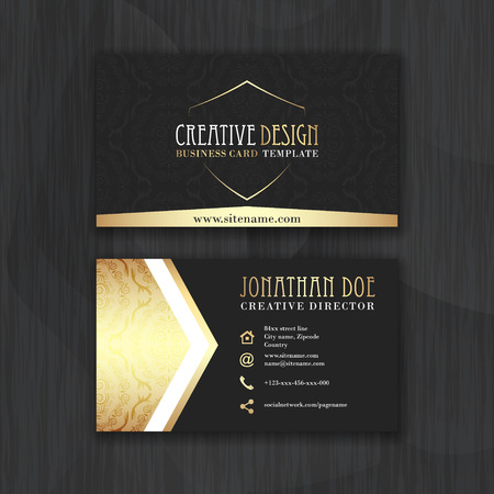 visit: Gold and black horizontal business card template. Design for personal or business use with front and back side. Vector illustration.