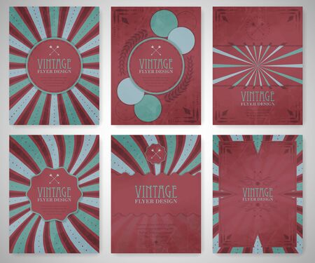 company background: Set of vintage flyer template, brochure, cover design or corporate banner. Editable vector design for your project.