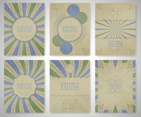 Set Weinlesefliegerschablone, Broschüre, Cover-Design oder Corporate Banner. Editierbare Vektor-Design für Ihr Projekt.