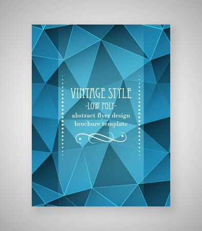 magazine: Abstract flyer triangular design, low poly brochure template in vintage style. Vector illustration.