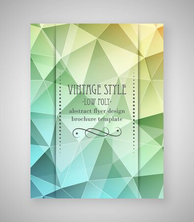 flyer layout: Abstract flyer triangular design, low poly brochure template in vintage style. Vector illustration.