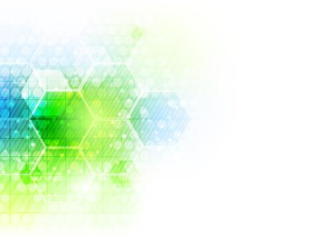 육각형 패턴, 반짝이 및 귀하의 콘텐츠에 대 한 장소 추상 미래 비즈니스 기술 배경. 벡터 일러스트 레이 션.