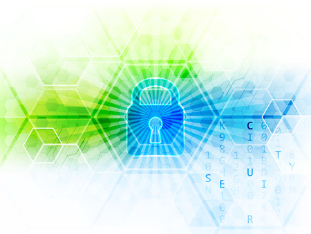 technology banner: Abstract technological background with global security concept. Lock, hexagon and circuit board. Vector illustration. Illustration