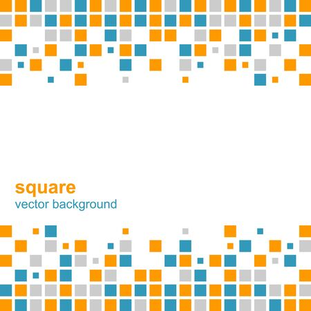 Mosaic vector abstract background, blue and orange squares.