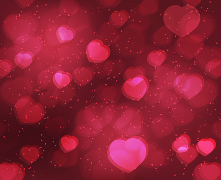 shiny hearts: Valentine?s Day shiny background with red hearts. Vector design for your greeting card.