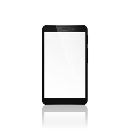 technological and communication: Mobile phone isolated on a white background with reflection.
