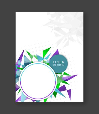 triangular banner: Business flyer abstract background. Corporate banner, brochure or cover design with triangular pattern