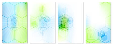 technological: Set of abstract technological wallpaper with global security concept. Vector illustration.