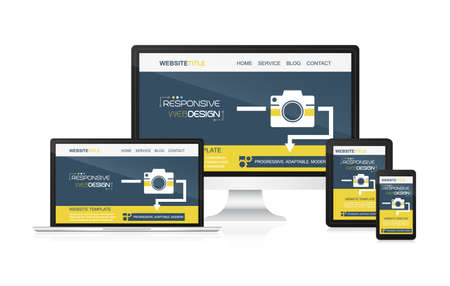 adaptable: Responsive web design - computer, laptop, tablet and smartphone. Idea for your website presentation.